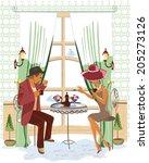 series of people drinking... | Shutterstock .eps vector #205273126