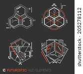 futuristic hud elements | Shutterstock .eps vector #205278112