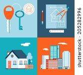 retro real estate symbols... | Shutterstock .eps vector #205282996
