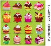 vintage cupcake poster set... | Shutterstock .eps vector #205289446