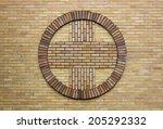 Cross Symbol On A Church Wall.