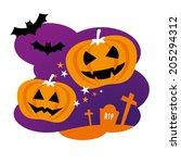 halloween design with pumpkins... | Shutterstock .eps vector #205294312