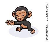 Cute Baby Chimpanzee Cartoon...
