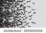 black silhouette of flying bats ... | Shutterstock .eps vector #2053053428