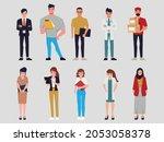 flat cartoon character people...   Shutterstock .eps vector #2053058378