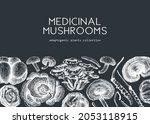 medicinal mushroom background....   Shutterstock .eps vector #2053118915