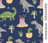 cartoon cute dinosaurs seamless ...   Shutterstock .eps vector #2053131005