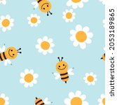 seamless pattern with bee...   Shutterstock .eps vector #2053189865