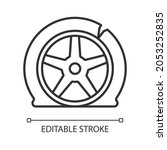 Tyre Damage Linear Icon....