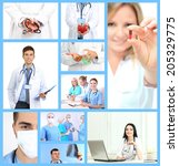 medical workers collage | Shutterstock . vector #205329775