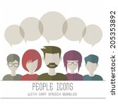 people icons with chat speech... | Shutterstock .eps vector #205353892