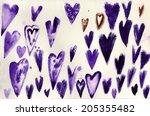 set of grunge vector hearts....   Shutterstock . vector #205355482