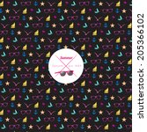 seamless summer pattern with...   Shutterstock .eps vector #205366102