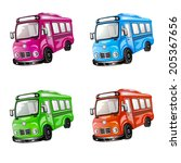 bus icon set. color car... | Shutterstock .eps vector #205367656