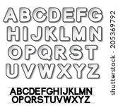 paper font alphabet   white... | Shutterstock . vector #205369792