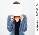 Business Woman  Hides Her Face...