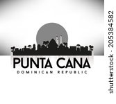 Punta Cana Dominican Republic, Black Skyline Design, vector illustration. Typographic city silhouette - stock vector