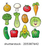 cute cartoon vegetable... | Shutterstock .eps vector #205387642