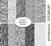 set of ten monochrome seamless... | Shutterstock .eps vector #205388185