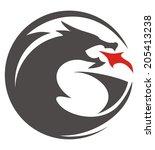 dragon circle shilouette | Shutterstock .eps vector #205413238