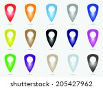 set of map pointers   vector | Shutterstock .eps vector #205427962