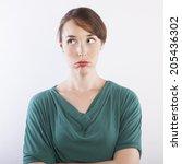 young beautiful woman bored...   Shutterstock . vector #205436302