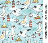 Summer Sea Vector Pattern Of...