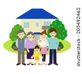 house and happy family   vector ... | Shutterstock .eps vector #205492462