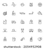 pollution outline vector icons...