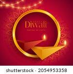 happy diwali. polygonal indian... | Shutterstock .eps vector #2054953358