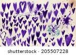 set of grunge vector hearts....   Shutterstock . vector #205507228