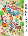 isometric ice cream street ... | Shutterstock .eps vector #205511002