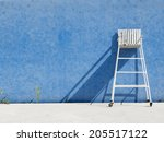 chair referee on blue wall   Shutterstock . vector #205517122