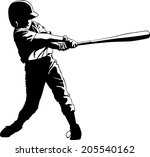 batter in youth league getting... | Shutterstock .eps vector #205540162