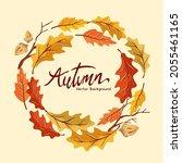 an autumn fall harvest wreath... | Shutterstock .eps vector #2055461165