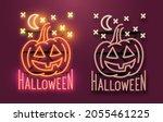 a glowing neon halloween sign... | Shutterstock .eps vector #2055461225
