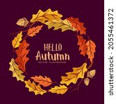 cheerful autumn circle wreath... | Shutterstock .eps vector #2055461372