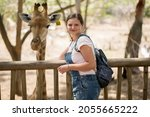 Woman Feeds A Giraffe At The...