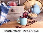Dried Hibiscus Tea In Color Mug ...
