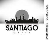 santiago chile skyline... | Shutterstock .eps vector #205570528