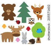 forest animals vector... | Shutterstock .eps vector #205571602