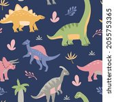 cute dinosaurs with tropical...   Shutterstock .eps vector #2055753365