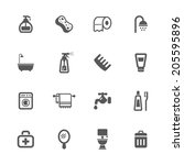 bathroom and hygiene icons. | Shutterstock .eps vector #205595896