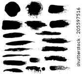 black blobs set  vector... | Shutterstock .eps vector #205597516