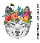 Portrait Of Wolf With A Floral...
