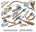 Stone Age Weapons. Black And...