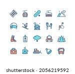 ski resort sign color thin line ...   Shutterstock .eps vector #2056219592