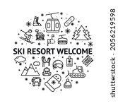 ski resort welcome round design ...   Shutterstock .eps vector #2056219598