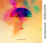 umbrella and rain drops with... | Shutterstock .eps vector #205622296