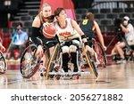Small photo of Tokyo, Japan. 2021 August 29th. Weman's Wheelchair Basketball: Germany Vs Japan in Tokyo paralympic games 2020. MILLER Mareike (22 GER), TSUCHIDA Mayumi (7 JPN)